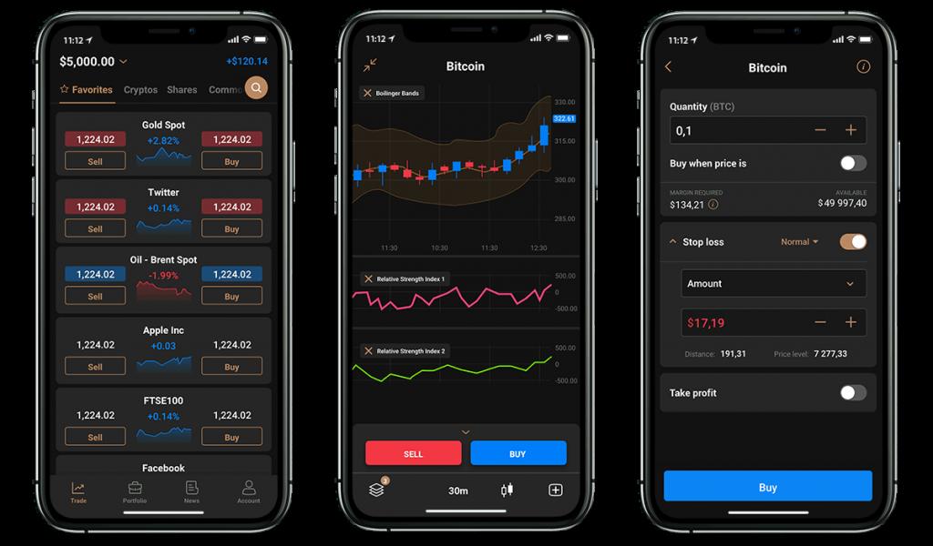 Capital.com : différents écrans de l'application mobile